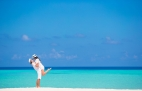 Casal apaixonado nas Maldivas na sua lua-de-mel!
